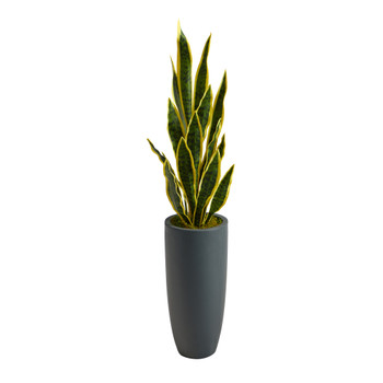 3.5 Sansevieria Artificial Plant in Gray Planter - SKU #P1596