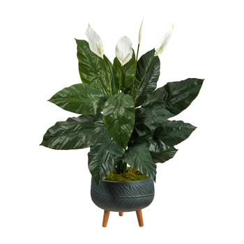 4 Spathiphyllum Artificial Plant in Black Planter with Stand - SKU #P1597