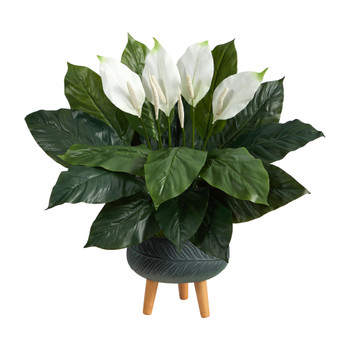 2.5 Spathiphyllum Artificial Plant in Black Planter with Stand - SKU #P1598