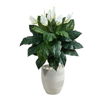 4 Spathiphyllum Artificial Plant in White Designer Planter - SKU #P1599