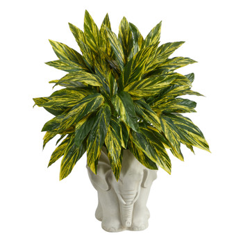 25 Tradescantia Artificial Plant in White Elephant Shaped Planter Real Touch - SKU #P1601