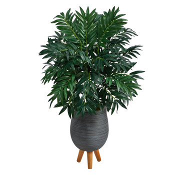 3 Bamboo Palm Artificial Plant in Gray Planter with Stand - SKU #P1602