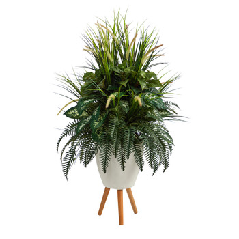 4.5 Mixed Greens Artificial Plant in White Planter with Legs - SKU #P1603