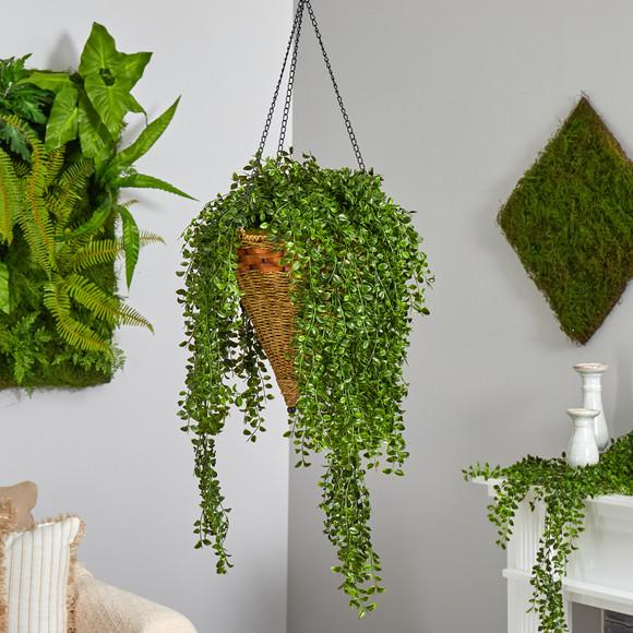 45 Gleditsia Artificial Plant in Hanging Cone Basket UV Resistant Indoor/Outdoor - SKU #P1605 - 2