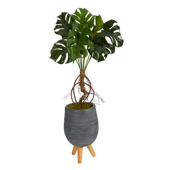3 Monstera Artificial Arrangement in Gray Planter with Stand - SKU #P1607
