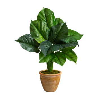 30 Large Philodendron Leaf Artificial Plant in Decorative Planter - SKU #P1608