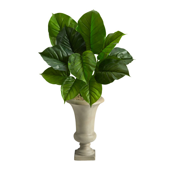 3 Large Philodendron Leaf Artificial Plant in Sand Colored Urn - SKU #P1609