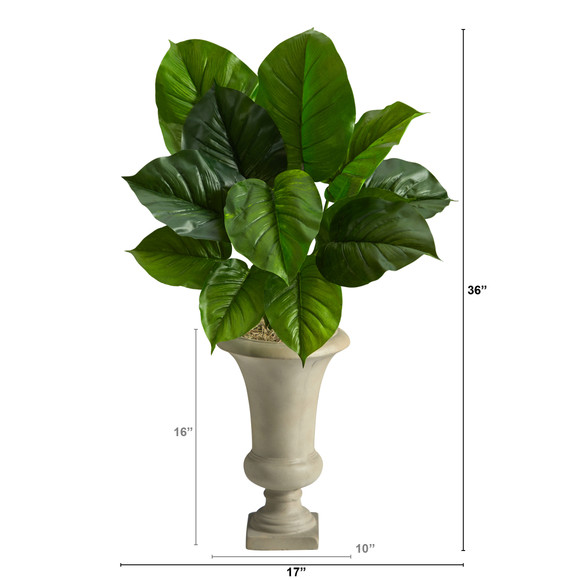 3 Large Philodendron Leaf Artificial Plant in Sand Colored Urn - SKU #P1609 - 1