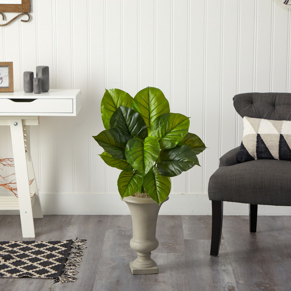 3 Large Philodendron Leaf Artificial Plant in Sand Colored Urn - SKU #P1609 - 2