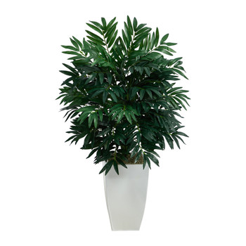 3 Bamboo Palm Artificial Plant in White Metal Planter - SKU #P1611