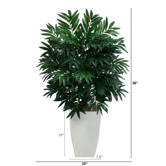3 Bamboo Palm Artificial Plant in White Metal Planter - SKU #P1611 - 1