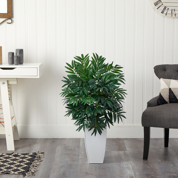 3 Bamboo Palm Artificial Plant in White Metal Planter - SKU #P1611 - 2