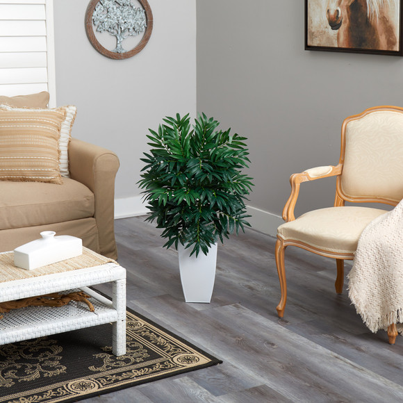 3 Bamboo Palm Artificial Plant in White Metal Planter - SKU #P1611 - 3