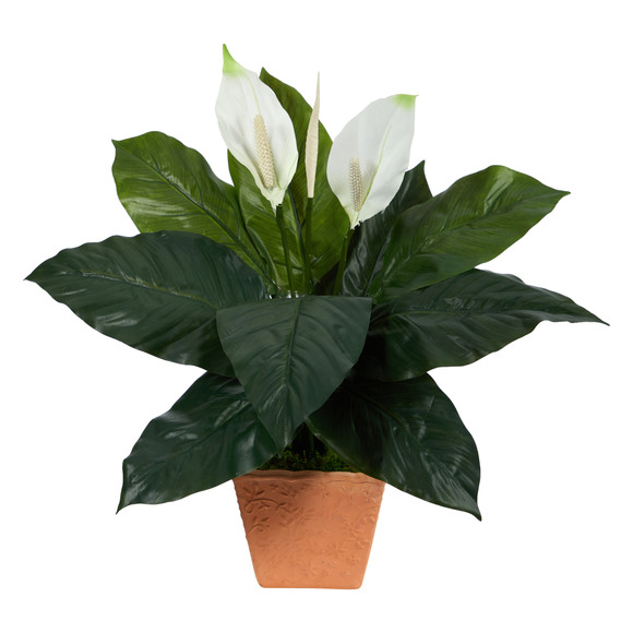 2 Spathiphyllum Artificial Plant in Terra-Cotta Planter - SKU #P1612