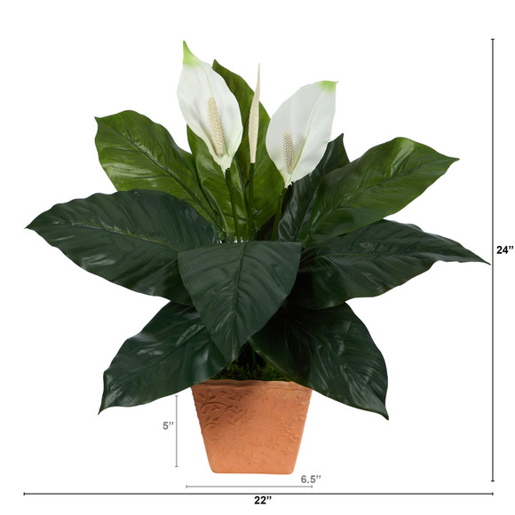 2 Spathiphyllum Artificial Plant in Terra-Cotta Planter - SKU #P1612 - 1