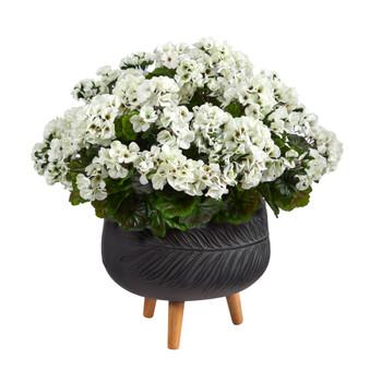 26 Geranium Artificial Plant in Black Planter with Stand UV Resistant Indoor/Outdoor - SKU #P1614