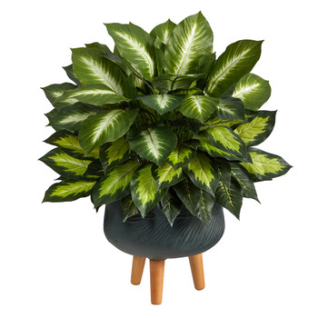 2 Golden Dieffenbachia Artificial Plant in Black Planter with Stand - SKU #P1615