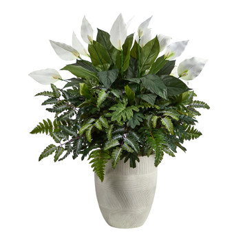 34 Mixed Spathiphyllum Artificial Plant in White Planter - SKU #P1618