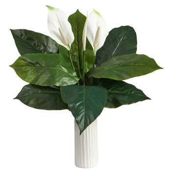 23 Mixed Spathiphyllum Artificial Plant in White Planter - SKU #P1619