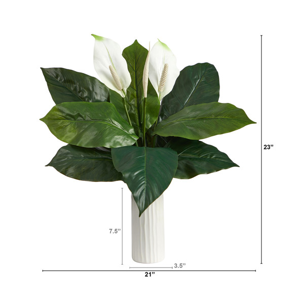 23 Mixed Spathiphyllum Artificial Plant in White Planter - SKU #P1619 - 1