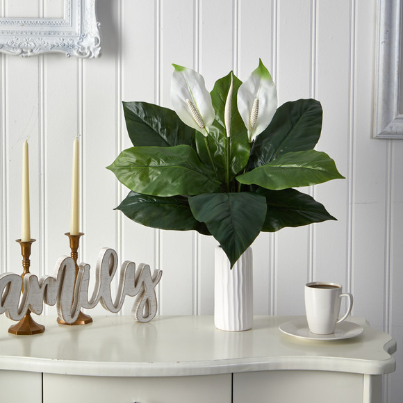 23 Mixed Spathiphyllum Artificial Plant in White Planter - SKU #P1619 - 2