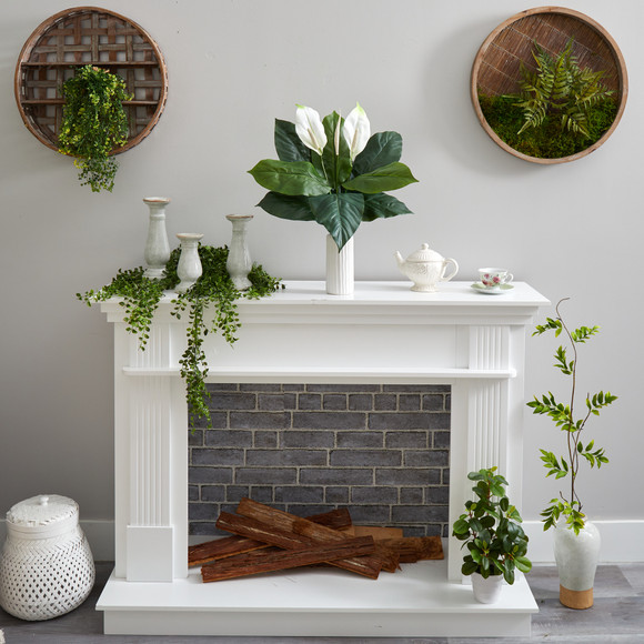 23 Mixed Spathiphyllum Artificial Plant in White Planter - SKU #P1619 - 3