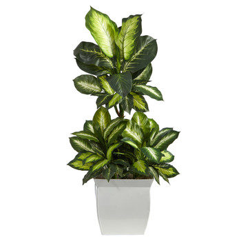 46 Golden Dieffenbachia Artificial Plant in White Metal Planter - SKU #P1620