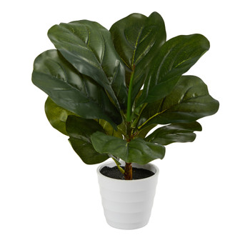 11 Fiddle Leaf Artificial Plant in White Planter Real Touch - SKU #P1646
