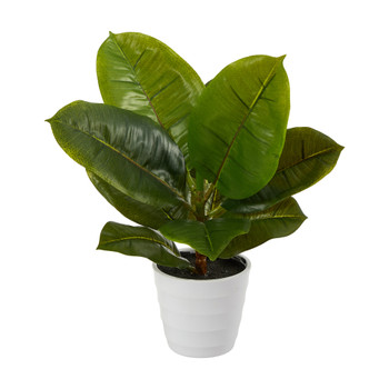 11 Rubber Leaf Artificial Plant in White Planter Real Touch - SKU #P1647