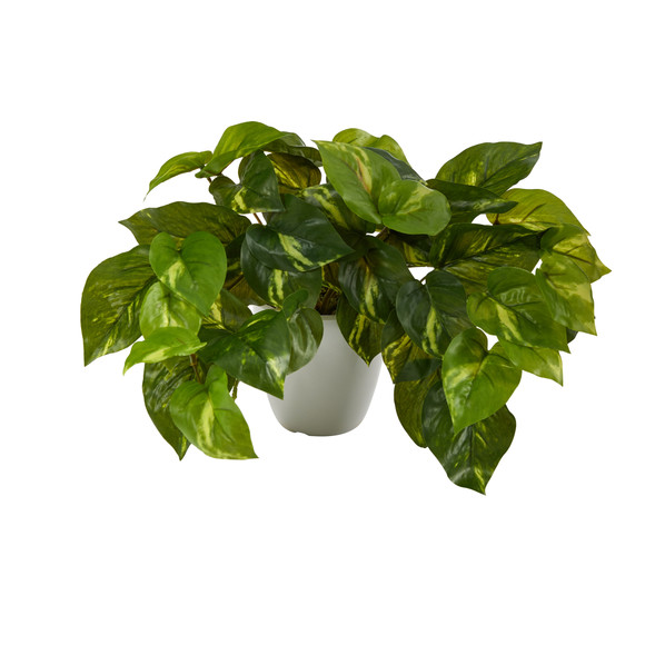 9 Pothos Artificial Plant in White Planter Real Touch - SKU #P1648