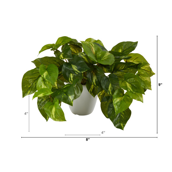 9 Pothos Artificial Plant in White Planter Real Touch - SKU #P1648 - 1