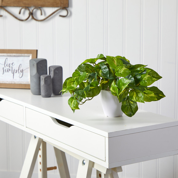 9 Pothos Artificial Plant in White Planter Real Touch - SKU #P1648 - 2