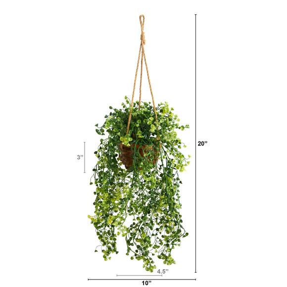20 Baby Tear Artificial Plant in Hanging Basket - SKU #P1657 - 1