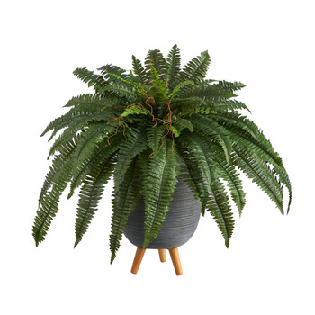 2.5 Boston Fern Artificial Plant in Gray Planter with Stand - SKU #P1689