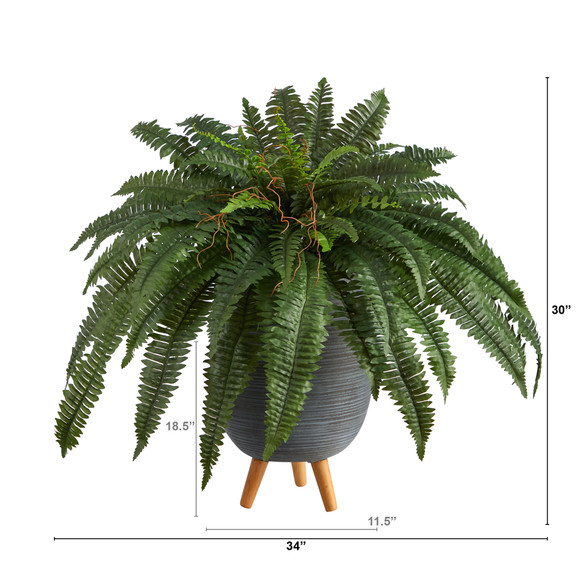 2.5 Boston Fern Artificial Plant in Gray Planter with Stand - SKU #P1689 - 1