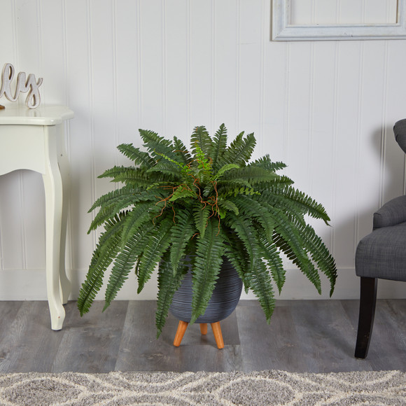 2.5 Boston Fern Artificial Plant in Gray Planter with Stand - SKU #P1689 - 2