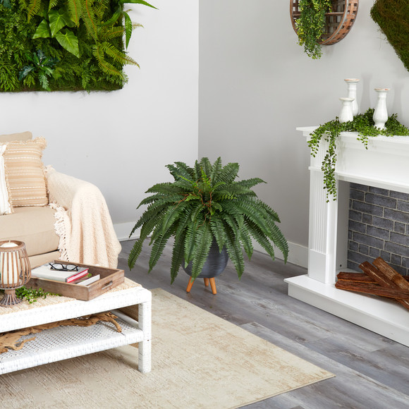 2.5 Boston Fern Artificial Plant in Gray Planter with Stand - SKU #P1689 - 3