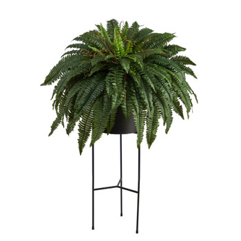 51 Boston Fern Artificial Plant in Black Planter with Stand - SKU #P1691