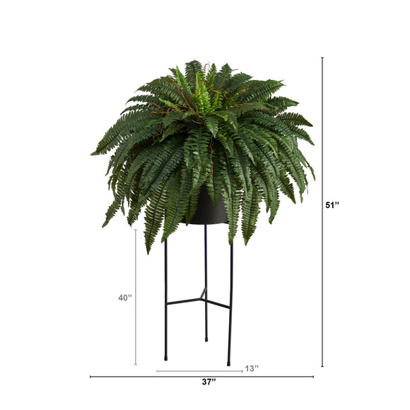 51 Boston Fern Artificial Plant in Black Planter with Stand - SKU #P1691 - 1