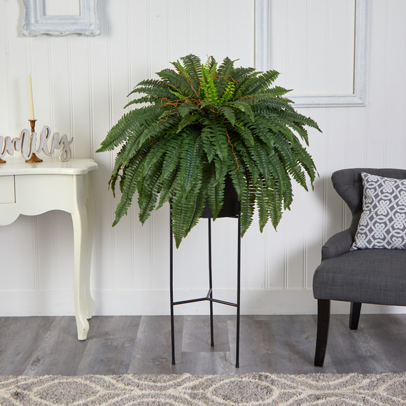 51 Boston Fern Artificial Plant in Black Planter with Stand - SKU #P1691 - 2