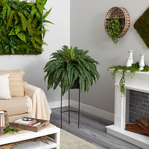 51 Boston Fern Artificial Plant in Black Planter with Stand - SKU #P1691 - 3