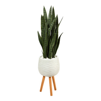 46 Sansevieria Artificial Plant in White Planter with Stand - SKU #P1692