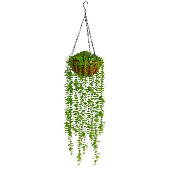 3 Eucalyptus Artificial Plant in Hanging Basket - SKU #P1803