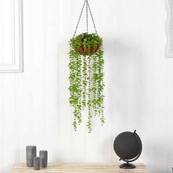 3 Eucalyptus Artificial Plant in Hanging Basket - SKU #P1803 - 2