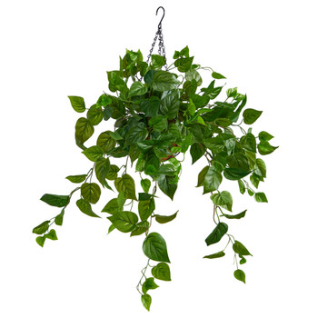 2.5 Philodendron Artificial Plant in Hanging Basket - SKU #P1804