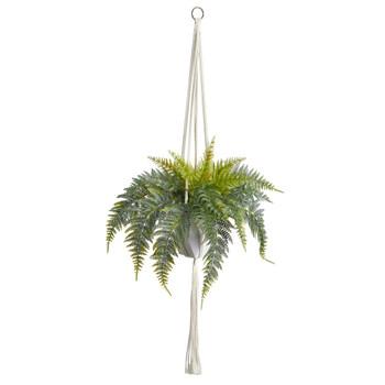 25 Fern Hanging Artificial Plant in Decorative Basket - SKU #P1805