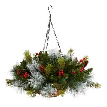 24 Holiday Pre-Lit 30 LED Lights Pine and Berries Hanging Basket - SKU #P1810