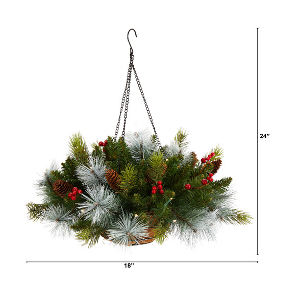 24 Holiday Pre-Lit 30 LED Lights Pine and Berries Hanging Basket - SKU #P1810 - 1