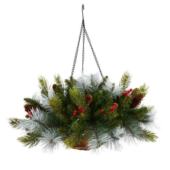 24 Holiday Pre-Lit 30 LED Lights Pine and Berries Hanging Basket - SKU #P1810 - 2