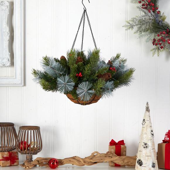 24 Holiday Pre-Lit 30 LED Lights Pine and Berries Hanging Basket - SKU #P1810 - 3